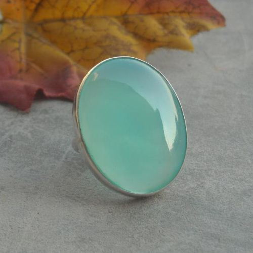 Buy Sterling Silver Green Chalcedony Ring Large Oval