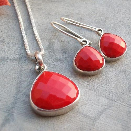Sterling silver jewelry set Red