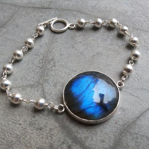 Sterling Silver Labradorite Bracelet Handmade