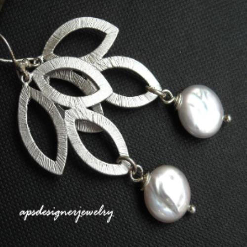 Sterling silver leaf coin pearl bridal earrings