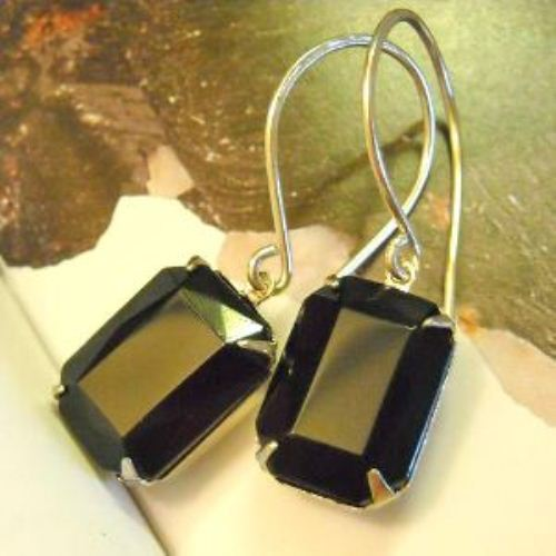 Sterling Silver Vintage Gl Black Jet Earrings