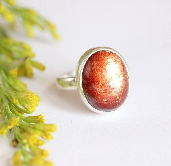 Sunstone Silver Ring Handcrafted Sunstone