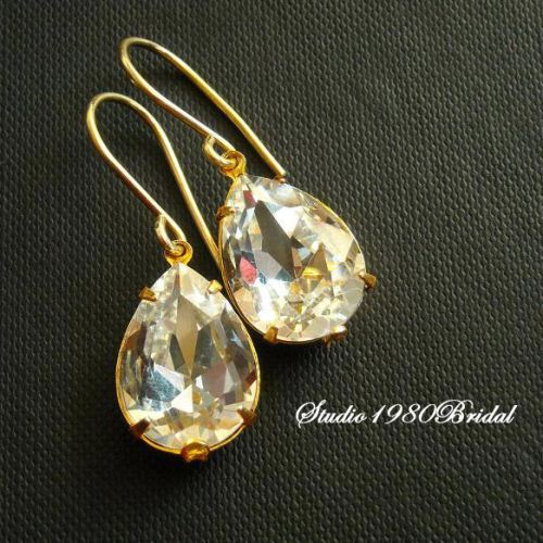 Swarovski Crystal gold bridal earrings