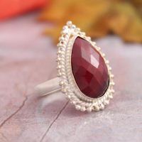 Teardrop ruby ring - Bezel set ring - Unique handmade jewelry