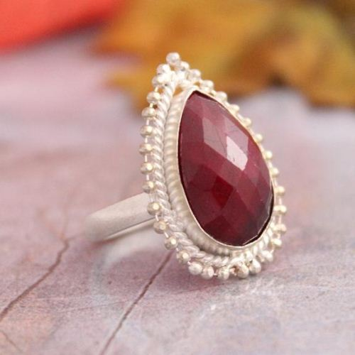Teardrop ruby ring Bezel set