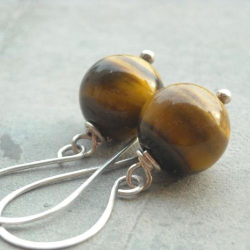 Tiger eye gemstone drop earrings