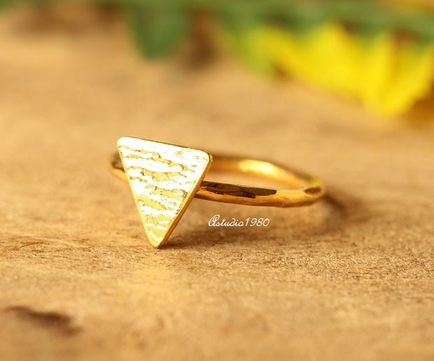 Buy Triangle ring 18 k gold hammered handmade ring gold stack ring Online  at aStudio1980 com