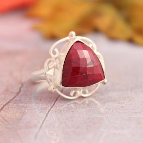 Triangle ring Ruby ring Artisan
