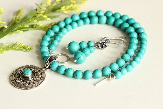 Turquoise beaded necklace earrings set