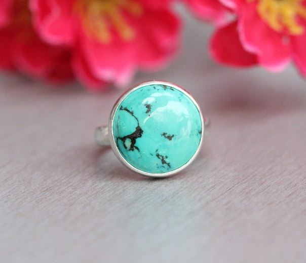 Turquoise Ring Bezel set ring