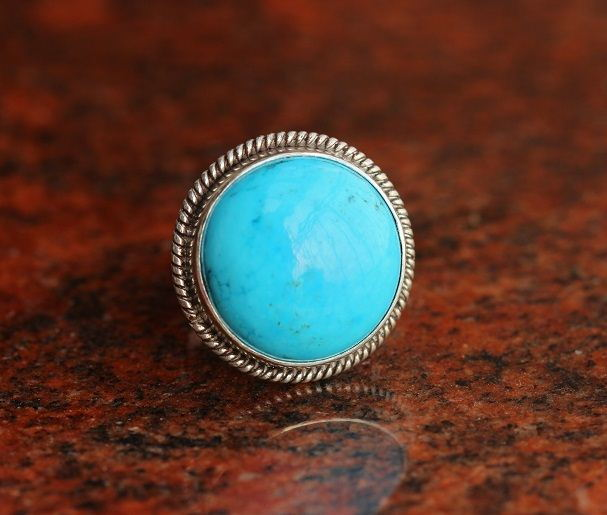 Rope design silver turquoise ring