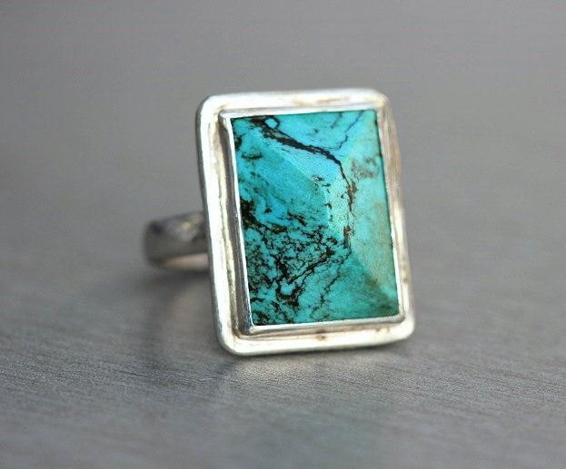 Artisan statement ring Stabilized turquoise