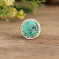Turquoise Ring - statement ring - Bezel set ring - Artisan Ring