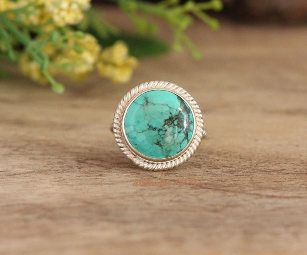 Statement handmade silver turquoise rings