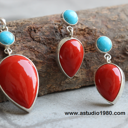 Buy turquoise and coral necklace turquoise silver pendant earrings turquoise and coral necklace turquoise silver pendant earrings set mozeypictures Image collections