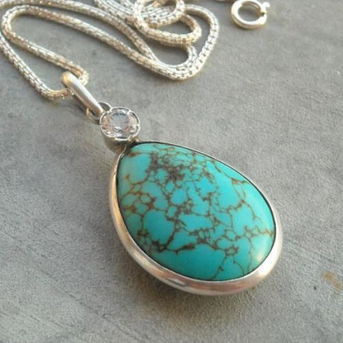 turquoise grey indian silver two guerro native artist american product jewelry navajo hills royston by sterling phillip pendant