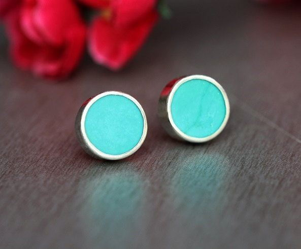 Turquoise stud earrings Turquoise earrings
