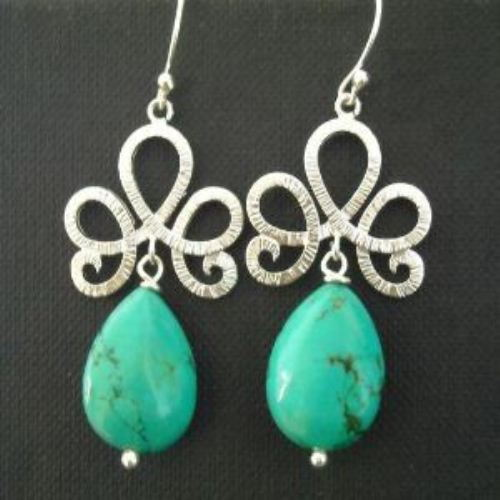 Turquoise twist sterling silver gemstone earrings