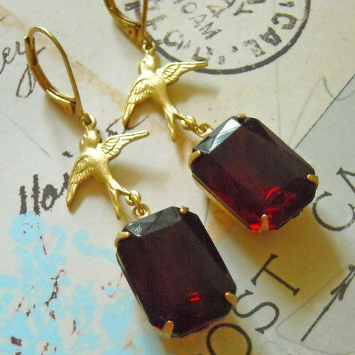 VINTAGE garnet glass golden brass bird octagon earrings