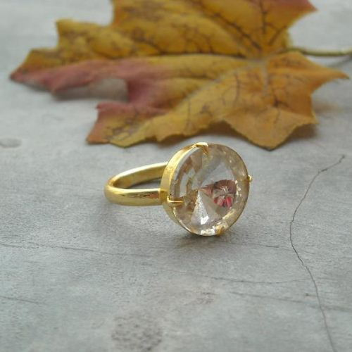 Vermeil ring Gold ring Crystal ring