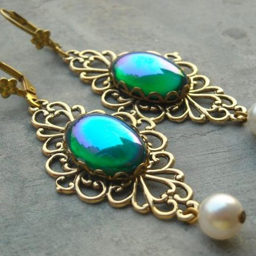 Victorian style Vintage brass Irish blue cab earrings