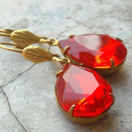 Vintage Fire RED crystal vintage brass Earrings