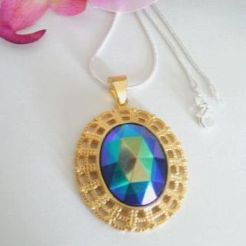 Vintage Peacock Faceted glass pendant golden sterling silver necklace
