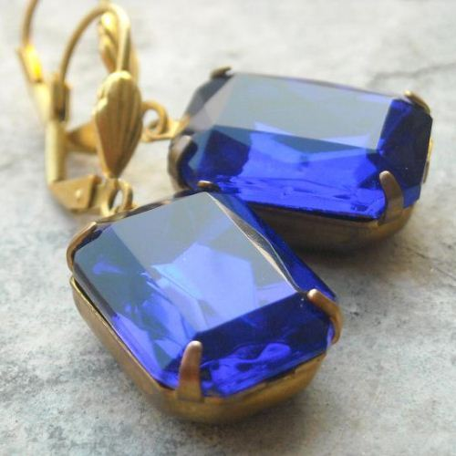 Vintage Sapphire blue glass crystal jewel vintage brass earring