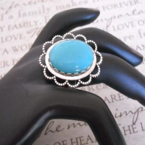 Vintage brass Turquoise color Cab silver adjustable Cocktail Ring