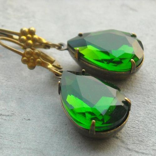 Vintage emerald green crystal vintage brass earrings
