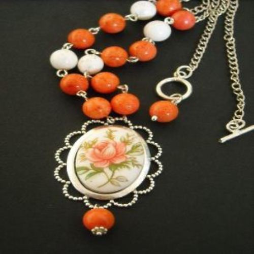 Vintage flower cab sterling silver coral necklace earrings set