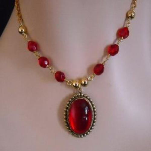 Vintage golden brass Red cab necklace earrings set