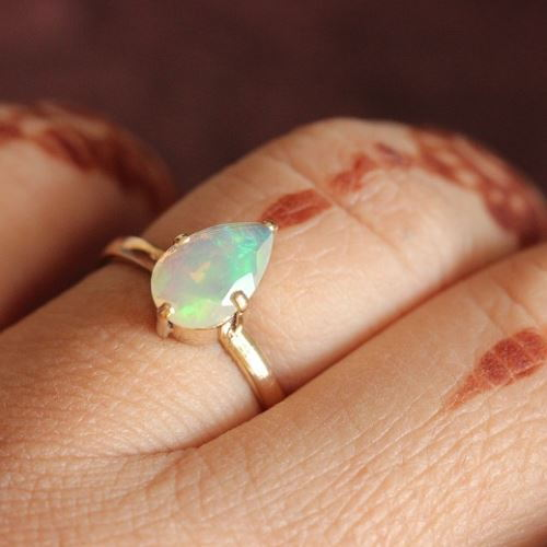 simple personalised peruvian blue gold dainty handmade jewellery rings engagement opal products ring