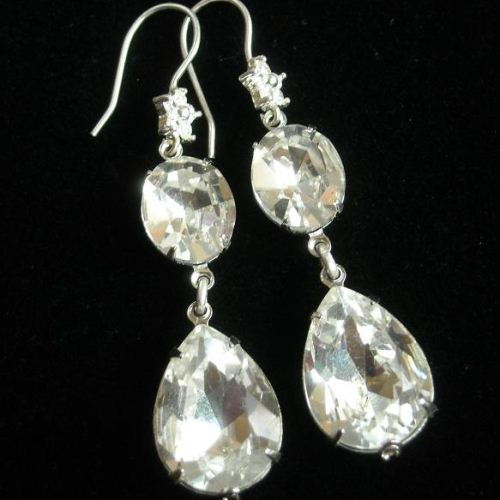 White crystal dangle bridal wedding