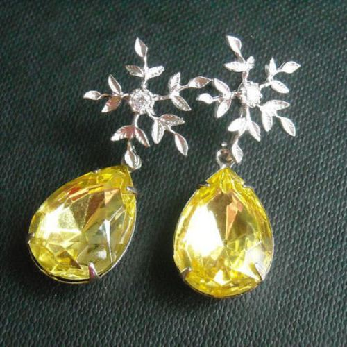 Yellow crystal earrings Bridal earrings