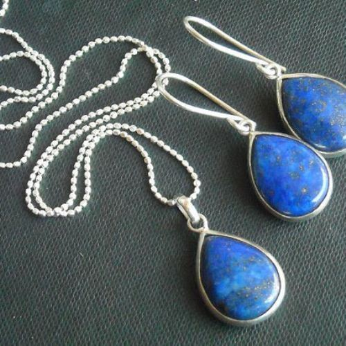 lapis lazuli pendant earrings set