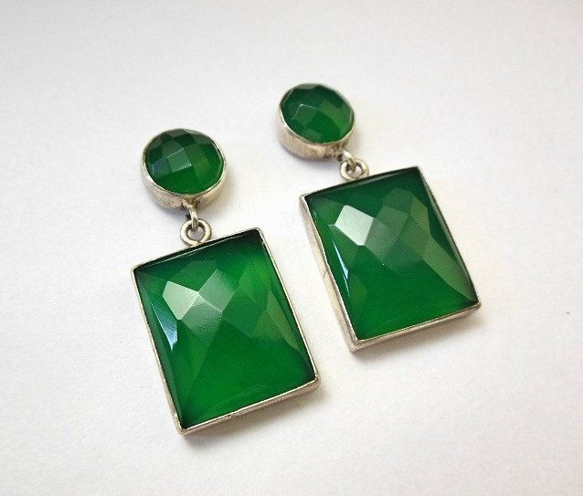 statement earrings Faceted earrings Green