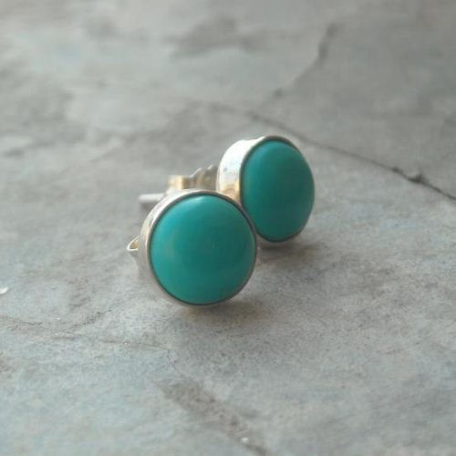 Turquoise Stud Earrings Sterling Silver