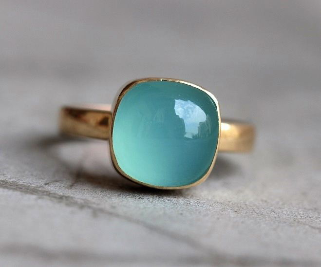 Buy 18k Gold Aqua Chalcedony Ring Gold Ring Artisan Handmade Ring Online At Astudio1980 Com