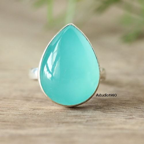 Buy Aqua Ring Aqua Blue Chalcedony Ring Tear Drop Bold Silver Ring Online At Astudio1980 Com