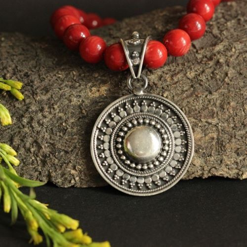 Buy Ethnic Red Coral Gemstone Silver Beaded Necklace