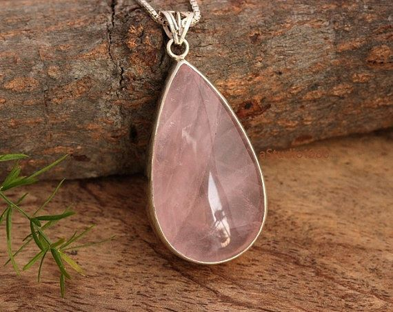 Rose Crystal Pendant Sterling Silver 925 Handmade Necklace Jewelry Pink