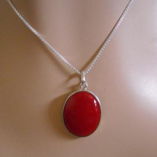 Buy Oval Red Coral Pendant Chain Jewelry 925 Sterling