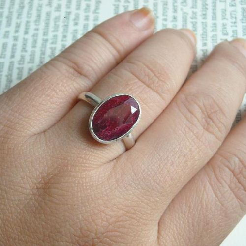 Buy Oval Ruby Ring July Birthstone Silver Ring Red Ruby