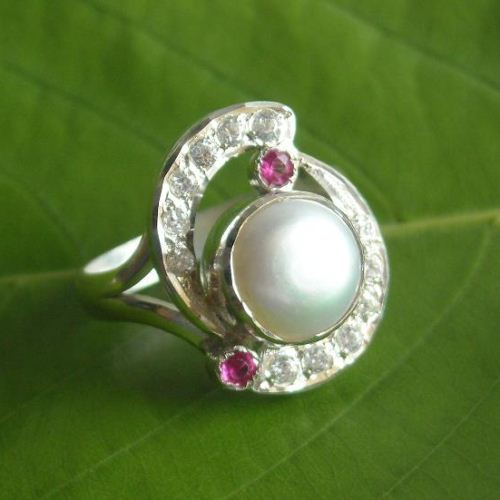 Buy Pearl And Ruby Ring Sterling Silver Cz Ring Pearl Engagement Ring Online At Astudio1980 Com