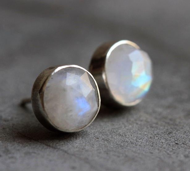 moonstone bezel earring rainbow moonstone Genuine Moonstone Dangle earring faceted solid Silver Danglers Rainbow Moonstone Earrings
