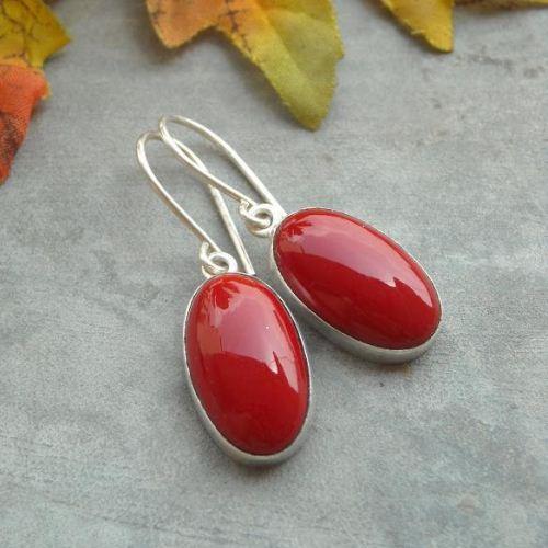 Red C Earrings Sterling Silver