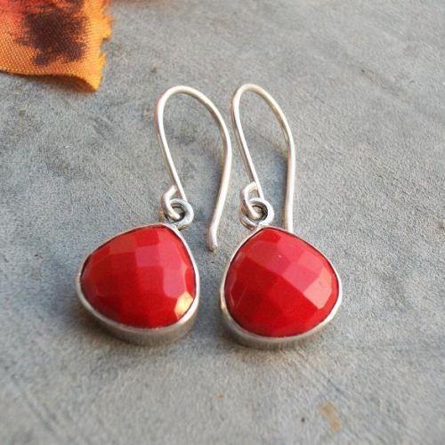 Buy Red Coral Earrings Coral Silver Earrings Coral