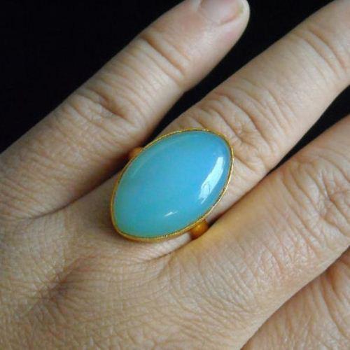 Buy Sea Foam Blue Chalcedony Ring Vermeil Gold Ring Leaf Design Ring Online At Astudio1980 Com