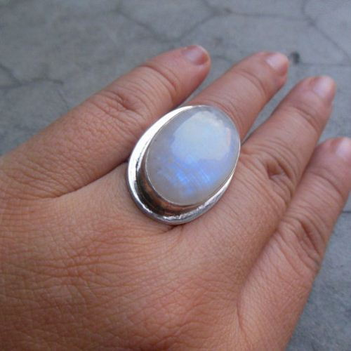 Buy Statement Ring Bold Rainbow Moonstone Silver Ring